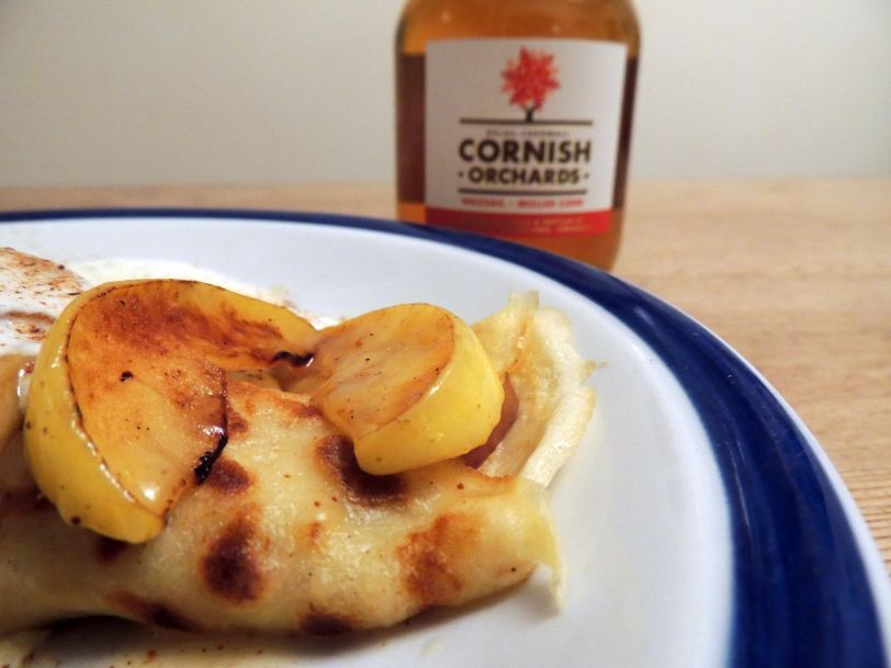 Apple pancakes with our Wassail Mulled Cider Sauce